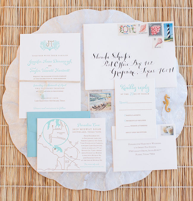 seaside inspired invitation