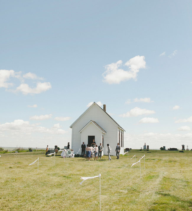 tiny white church wedding