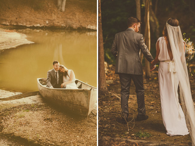 bride and groom canoe
