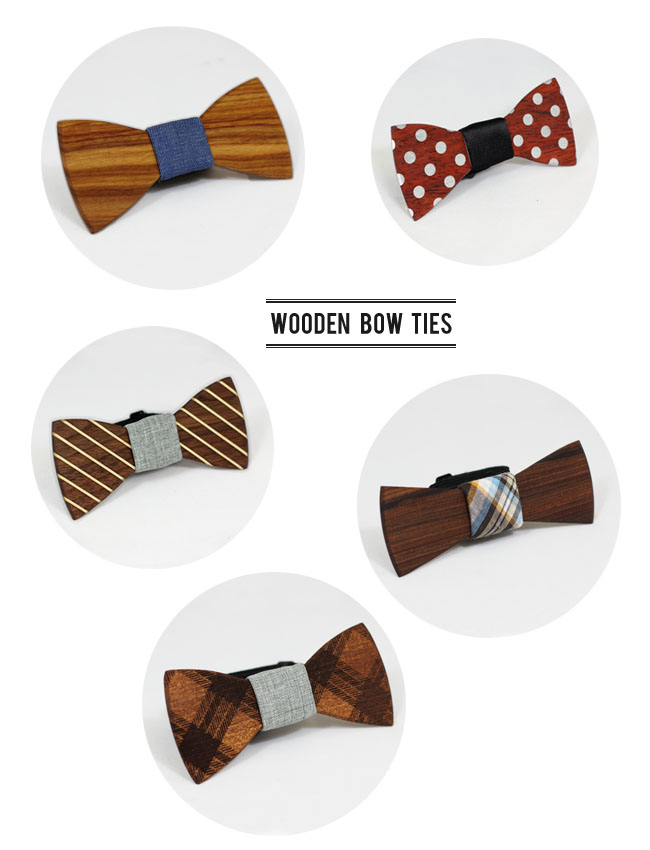 wooden bow ties