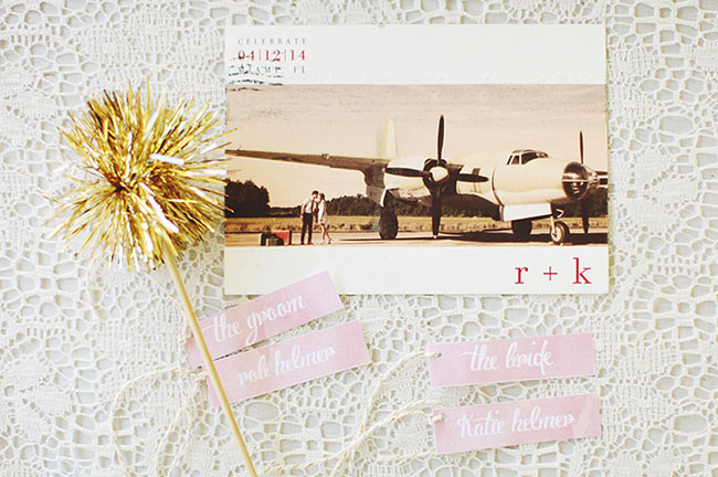 airplane save the date postcard