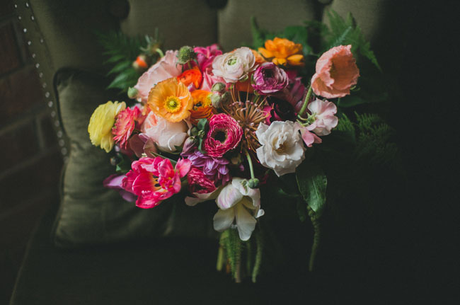 colorful art inspired bouquet