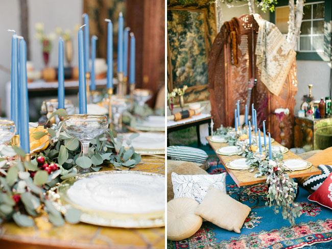 pale blue candles