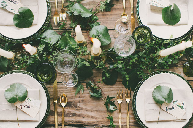 deep green and gold wedding inspiration foliage green glass goblets