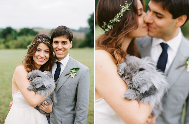 bride and groom with bunny