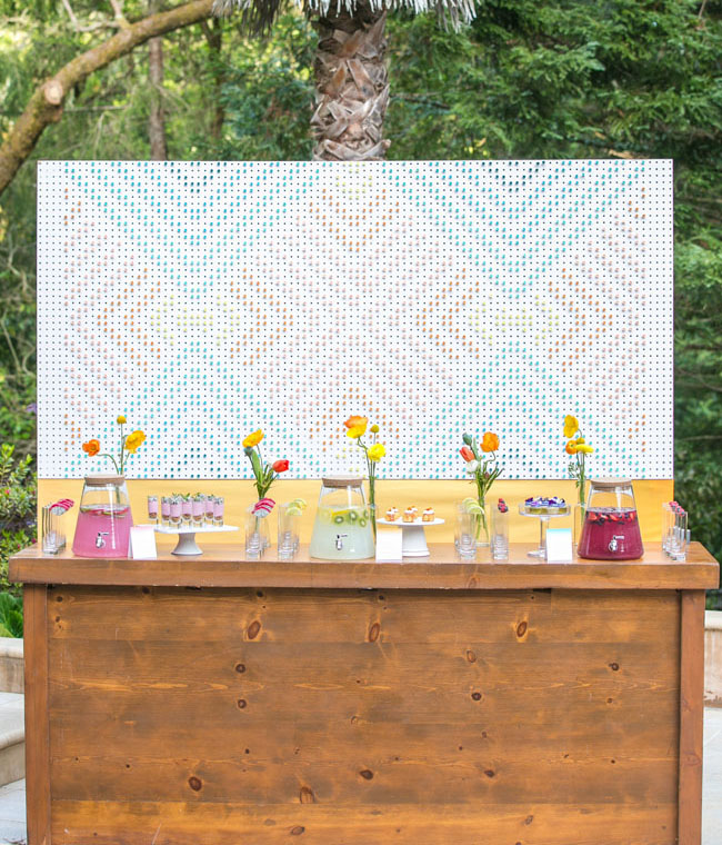 peg board beverage bar