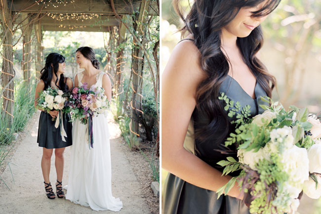 dark bridesmaid dress