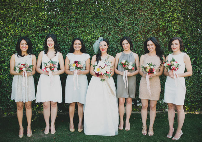 mixed dress bridesmaids