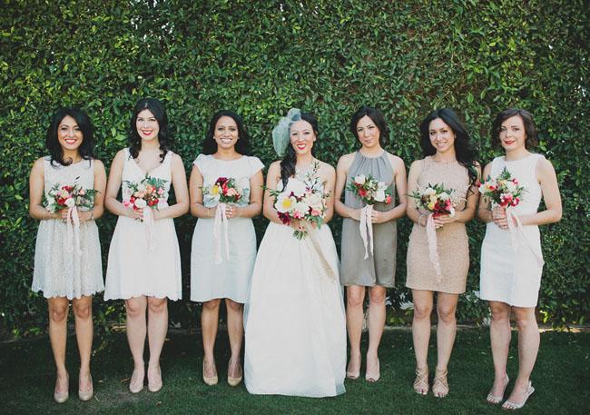 mixed dress bridesmaids