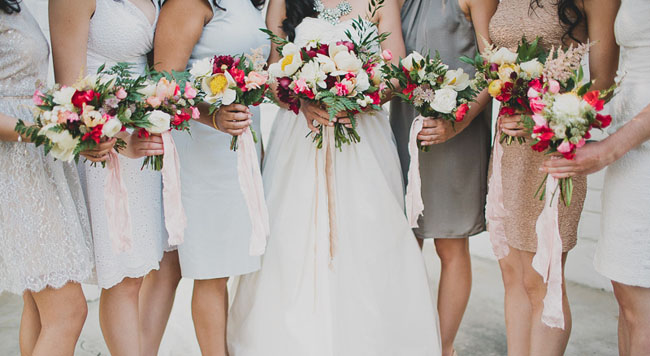 ribbon wrapped peony bouquets