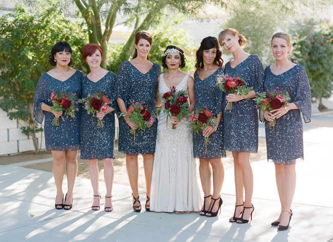 sequin bridesmaids in blue