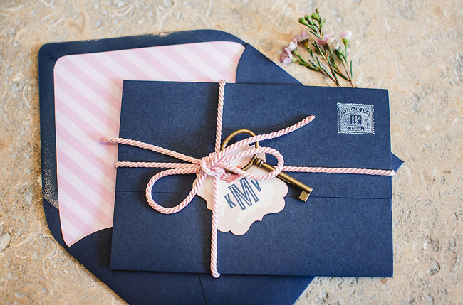 blue and pink invite