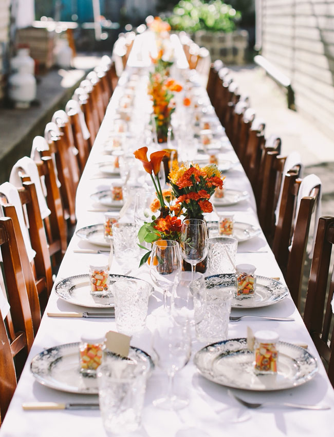 orange and black tablescape