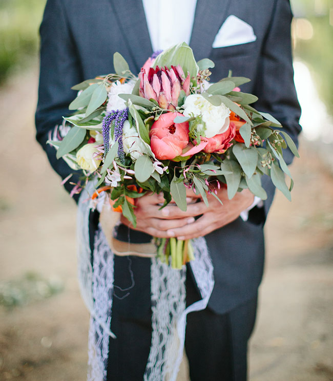 peony and protea bouquet