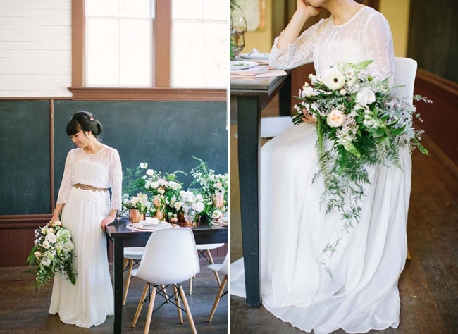 modern botanical bride