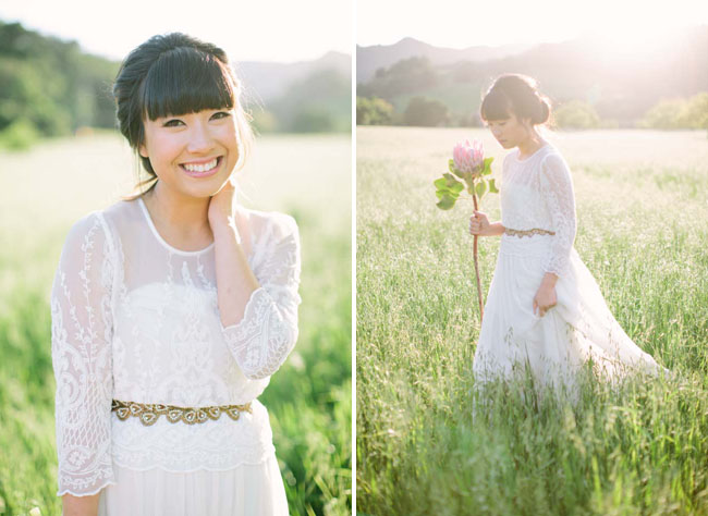 modern botanical bride