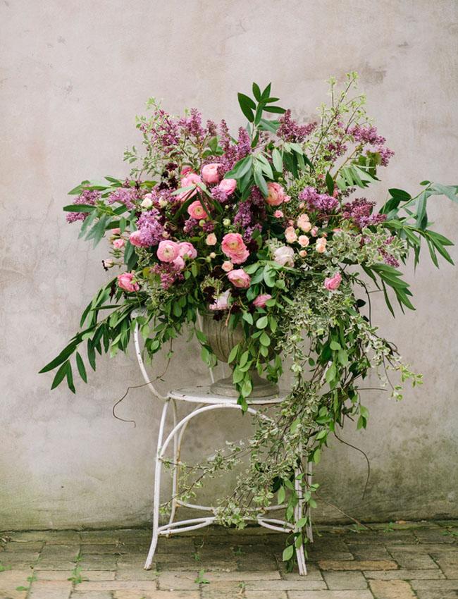 purple chair flower decor