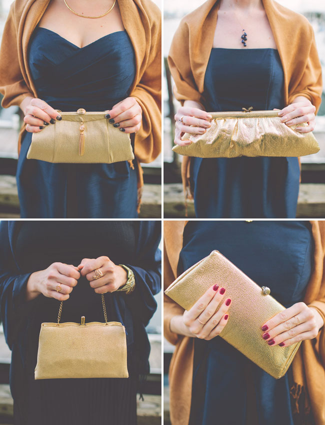 gold bridesmaid clutch