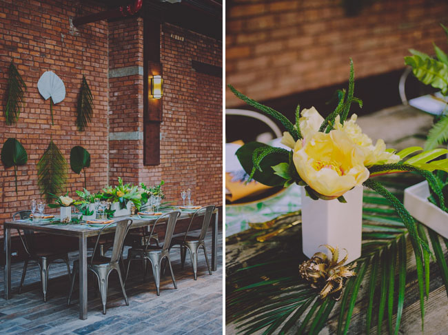 tropical floral tablescape