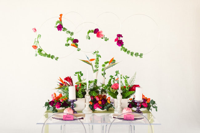 modern tropical tablescape