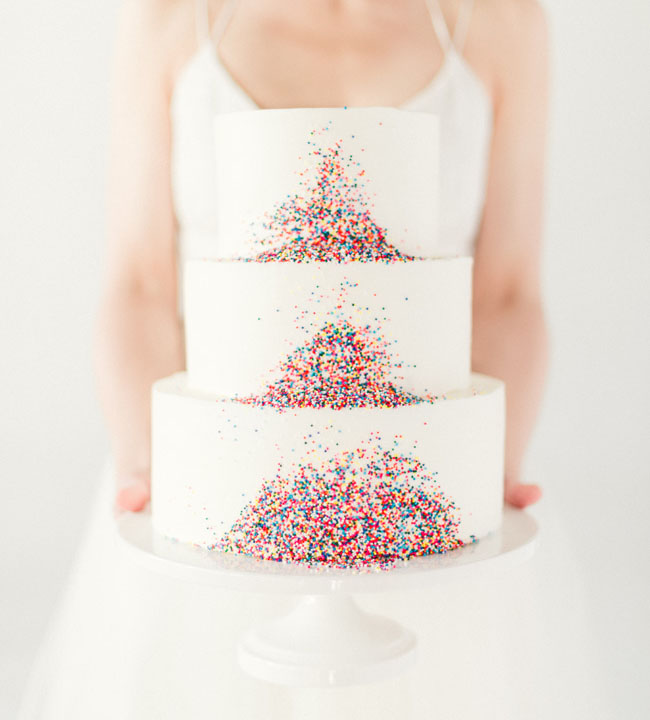 modern tropical sprinkle cake