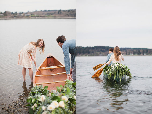 flowers in canoe