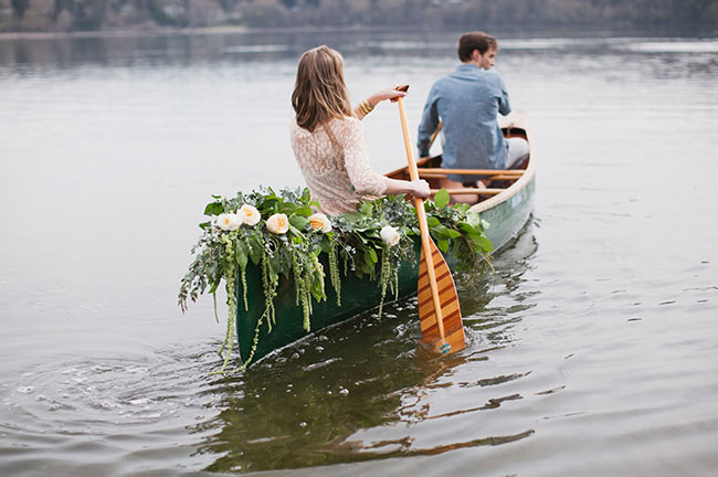 flowers in canoe