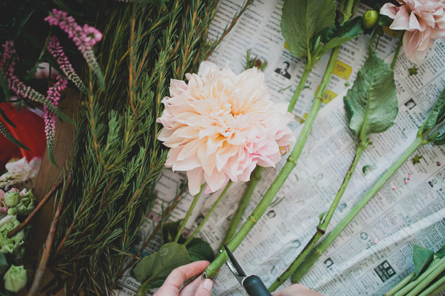 prepping flowers