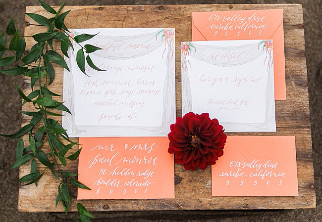 coral colored invitation