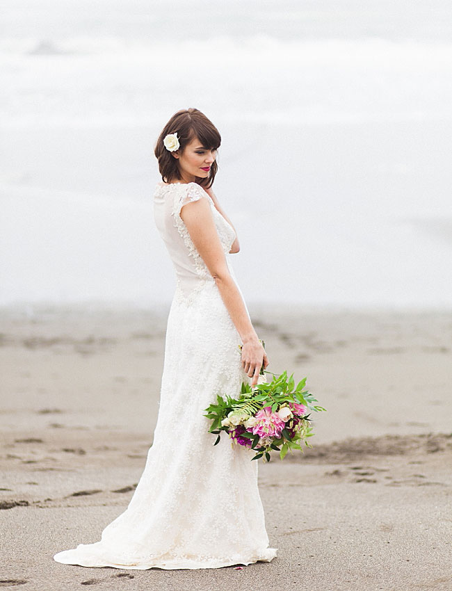 morning beach bride