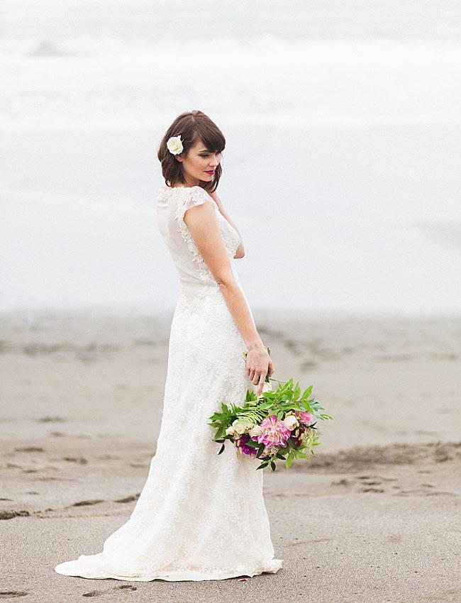 morning beach bride
