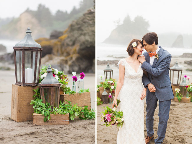 lantern and vintage box aisle decor