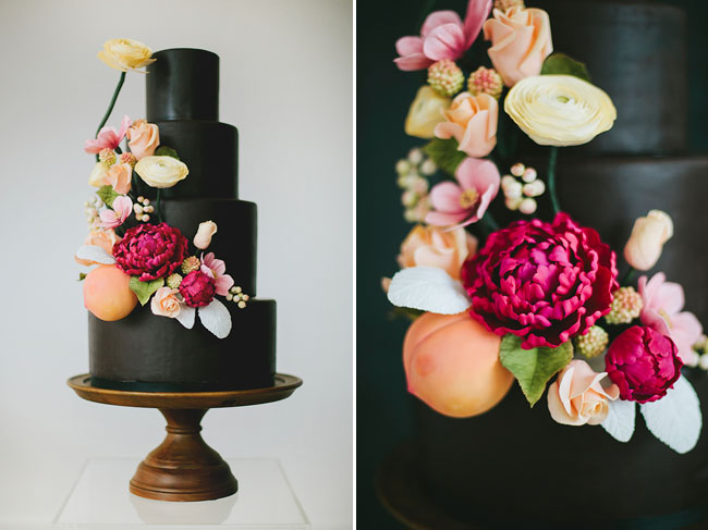 dark cake with flowers