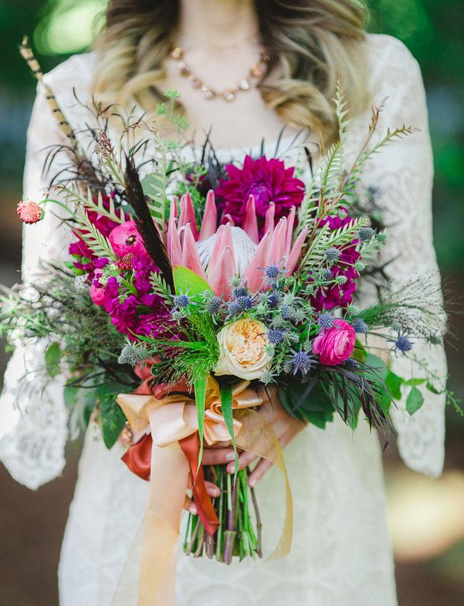 bohemian protea bouquet