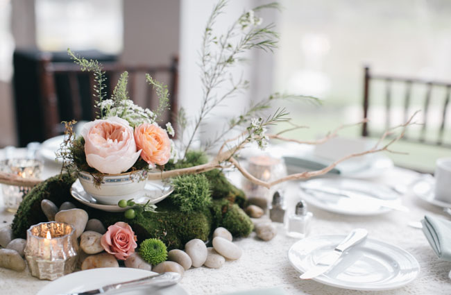 moss and teacup centerpiece