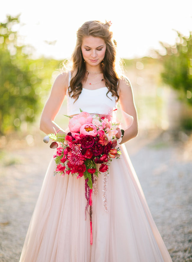 Coral rose gold wedding inspiration green wedding for Pink and gold wedding dress