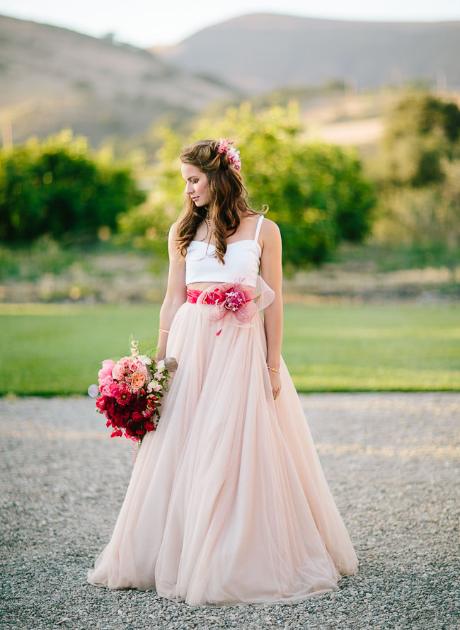 crop top and pink wedding skirt