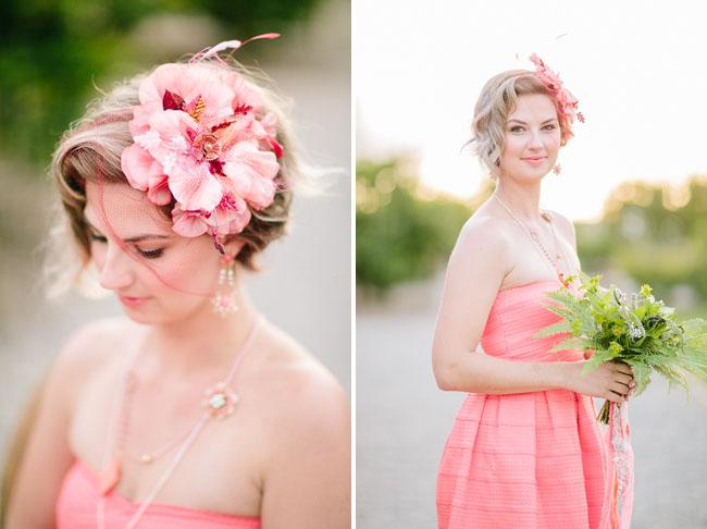 pink flower fascinator
