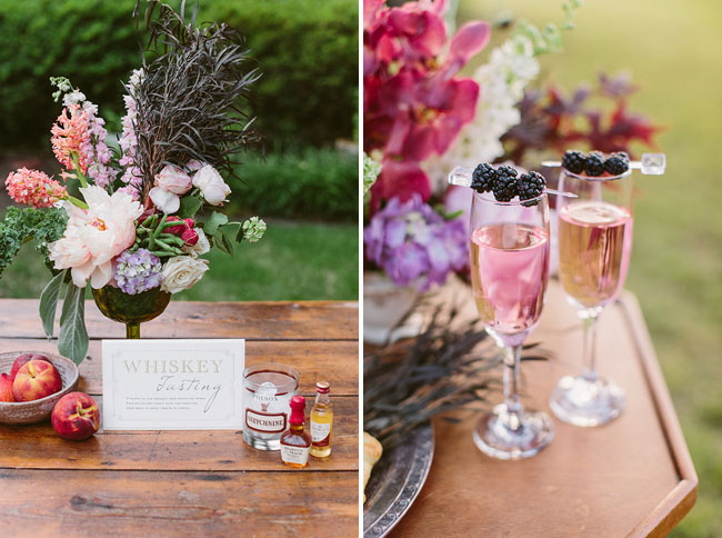champagne and berries