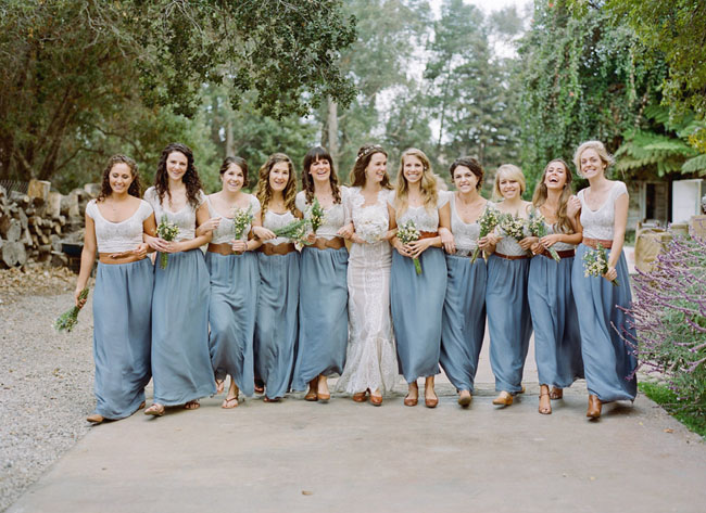 bridesmaids in maxi skirts