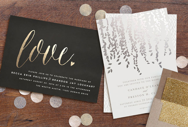 love foil-pressed invitation from Minted