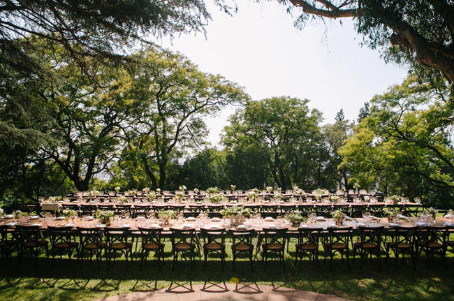 long wood table reception