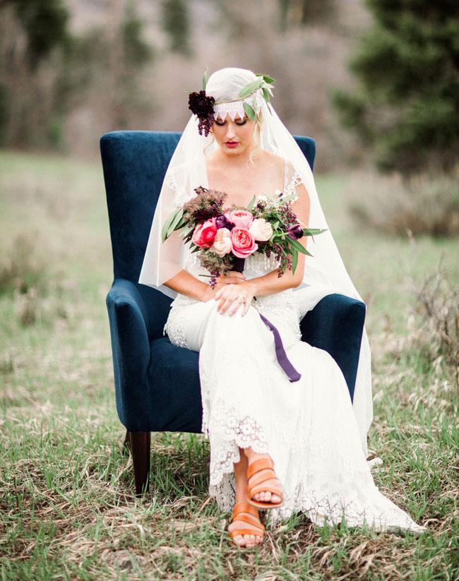 mountain bridal blue velvet chair