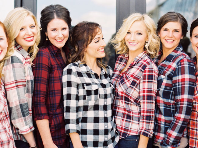 plaid bride bridesmaids