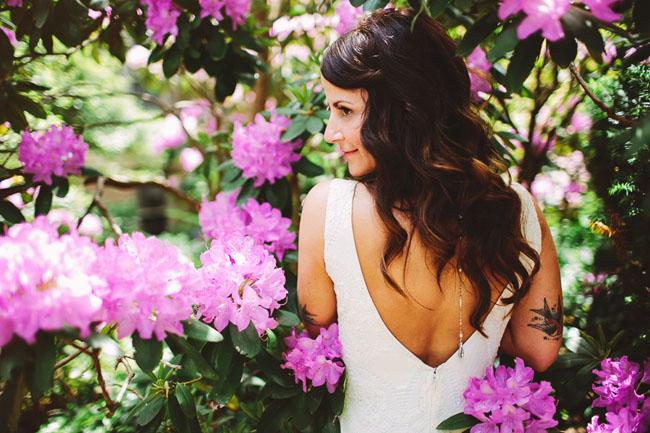 bride in flowers