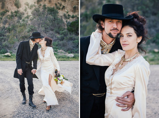 old timey western bride and groom