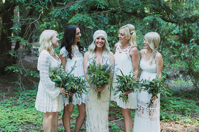 bridesmaids in lace