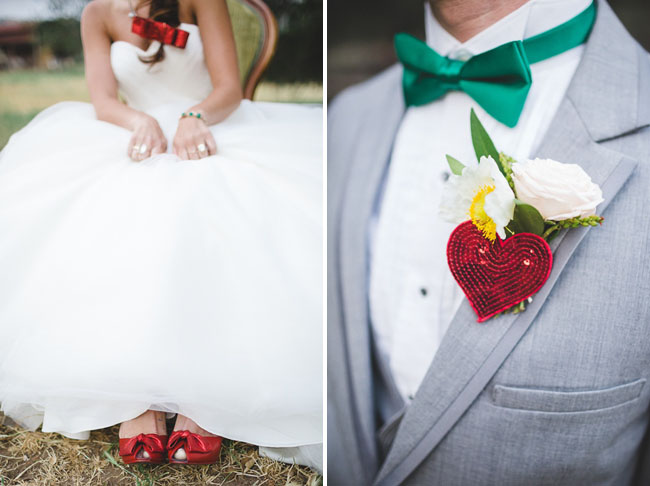 red sequin heart boutonniere oz