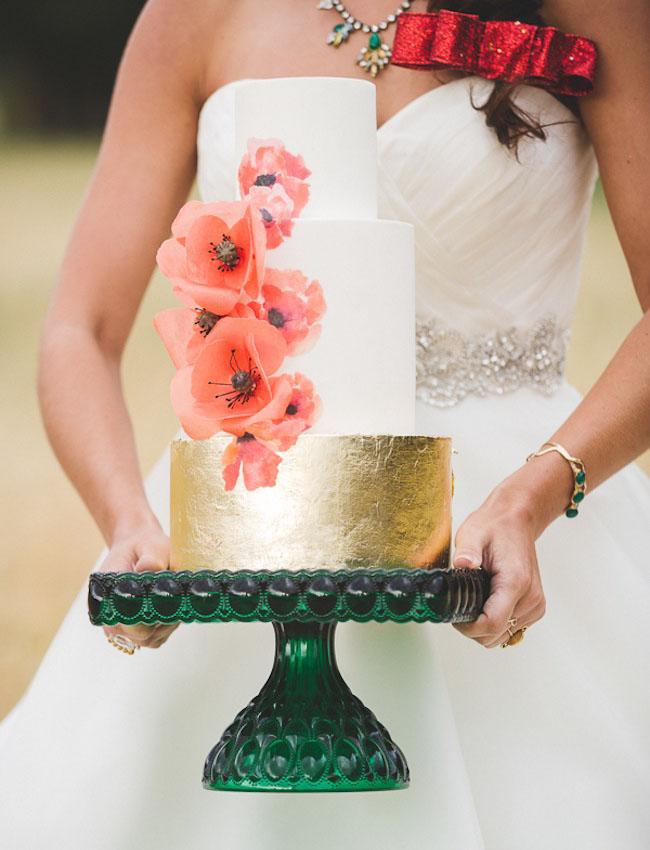 poppy cake with gold