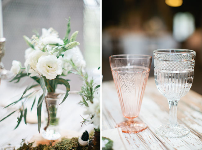 pink colored glassware